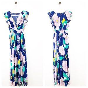 Shein Floral V-Neck Flutter Sleeve Maxi Dress S